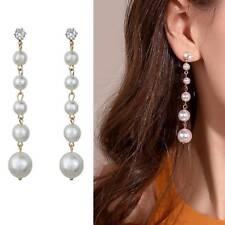 Fashion Big Simulated Pearl Tassel Crystal Dangle Earrings Wedding Party Jewelry