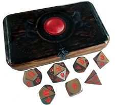 Warlock Tome with Smoke and Fire |Shiny Black Nickel with Red Numbers Metal Dice
