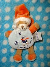 D # Doudou DOUDOU et Compagnie MINI ours firmin cape orange bleu neige 15 cms