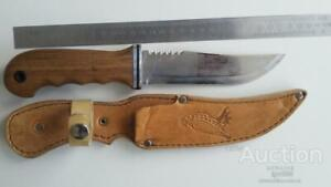 Rare Vintage Handmade USSR Hunting Fixed Knife Stainless Steel in Leather Case