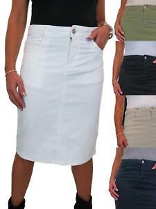 Ladies Heavy Cotton Skirt Below Knee Stretchy Jeans Pencil Skirt 10-20