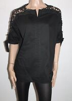 Unbranded Black Lace Insert Short Sleeve Blouse Top Size S/M BNWT #Ti120