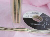 5m 10mm Blue /& Ivory Deckchair Stripe Grosgrain Ribbon 1m 10m and 20m Lengths