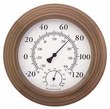 Thermometer Hygrometer 8 in. Antique Copper Indoor Outdoor Humidity Measurement