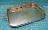 "Vintage Solid Brass Rectangular Display Tea Drink Serving Tray 18.5"" x 12.75"""