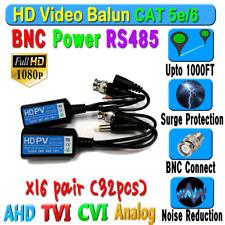 x16 pairs HD Balun CCTV BNC Video Data mic RS485Power CAT5e/6 Protect 1080P 720P