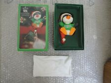 Vintage Hallmark Christmas Stocking Hanger - Penquin - Shirt Tales - Green Box
