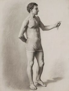 French Academic Drawing Laetitia Doumichaud Study Nude Male Man Standing Model