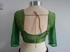 Designer lehenga sari blouse choli brocade bridal green halter net lace
