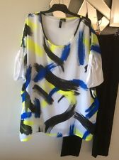 TS TAKING SHAPE Blue Lime Green Black White Short Sleeve Tunic Top Blouse 18 PC