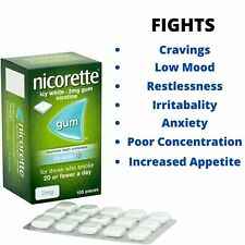 Nicorette 2mg Icy White Gum (105 Pieces) NEW!