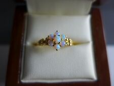 9ct gold on silver opaline cluster ring