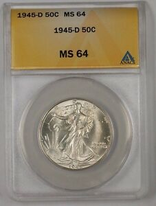 1945-D Walking Liberty Silver Half Dollar Coin ANACS MS-64 (2)