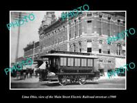 OLD LARGE HISTORIC PHOTO OF LIMA OHIO THE MAIN St ELECTRIC RAILROAD CAR c1900 1