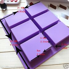 6-Cavity Plain Basic Rectangle Soap Mold Silicone for Homemade Craft Making
