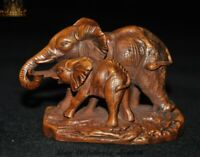 Old Chinese Boxwood Wood Carved Fengshui Auspicous Lucky Elephant Animal Statue