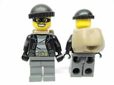 Lego Figur City Polizei Verbrecher Bandit cty453  Lederjacke Rucksack 60045
