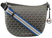 Michael Kors Bedford Canvas Hobo Shoulder Bag Heather Grey Logo Jaquard Medium