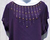 Size M L Claremont Purple Silky Top Nine West Jeans Goldtone Beads Medium Large