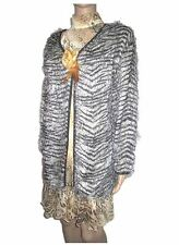 Womens Vtg 90s French Design Shaggy Animal Evening Party Jacket Bolero sz L AC28