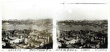 Constantinople Panorama Turquie Plaque stéréo Occupation française 1921