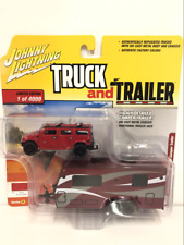 2004 Hummer H2 with Camper Trailer Scale 1:64 JLBT008B Victory Red