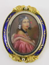 Antique Hand Painted Artist Signed Lady Portrait Pin 18K Gold Cobalt Blue Enamel
