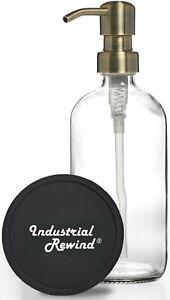 Clear Soap Dispenser with Antiqued Brass Soap Pump 8oz Soap Lotion Dispenser