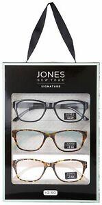 Jones New York Womens 3-Pc. Solid Tortoise Reading Glasses Readers +2.50 Multi