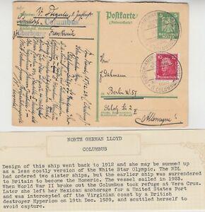 MARITIME 1929 DEUTSCHE AMERIKANISCHE SEEPOST D, COLOMBUS BREMEN-NEW YORK cover