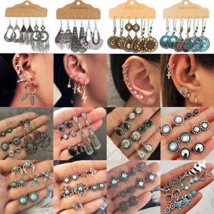Retro12 Pairs Boho Crystal Earrings Stud Dangle Set Women Cuff Ear Clip Hoop Hot