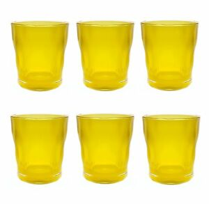QG 14 oz. Acrylic Plastic Double Old Fashioned Tumbler Set of 6 Jelly Yellow