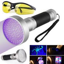 UV 100 LED Taschenlampe Schwarzlicht Licht Lampe Handlampe mit Schutzbrille GD