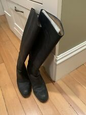 ACNE SHOES PISTOL TALL LEATHER KNEE HIGH BOOTS BLACK 38 PULL ON