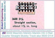 EE 5009 New Marklin HO 3R Quarter Straight Track 3600D1/4 Brass Rails Box of 10