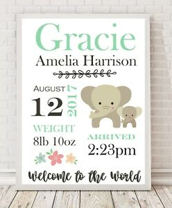 Personalised Baby Gift / Nursery Print / Birth details Christening A4 GREEN PO7