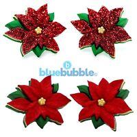 Bluebubble MERRY CHRISTMAS Poinsettia CLIP ON Earrings Kitsch Funky Festive Fun