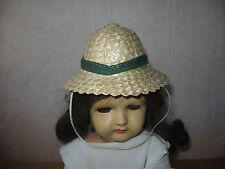 Ancien chapeau en paille tressée pour poupée ancienne de Art Déco vers 1920 1930