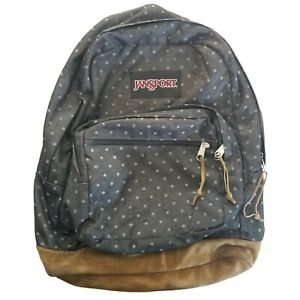 JanSport Originals Leather Bottom Backpack TB5O0313 - Gray Denim Polka Dot