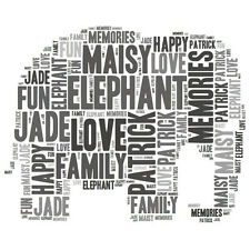 Personalised Elephant Word Art Print Great Gift  Daughter Son Sister Friend