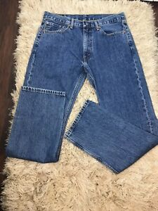 Mens Levis 505 Blue Jeans Size 36 x 34 Classic Fit Good Pre Owned Condition