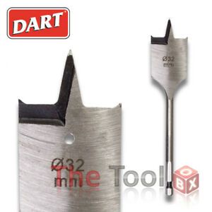 Dart Flat/Spade Bits 6mm to 40mm suitable for Wood, Plastic & Plasterboard