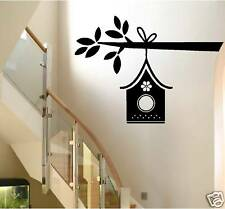 BIRD HOUSE ON A BRANCH wall decal - home decor - birdhouse - primitive wall art