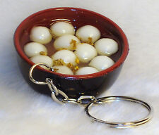 Chinese Oriental Fake Sea Food/Sushi Egg Soup Plate Key Chain Ring Holder #C