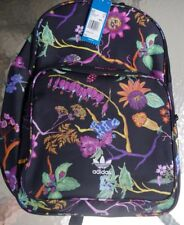 Nwt New Adidas Classic Black Logo Floral Backpack Rainforest Frogs Pockets Light