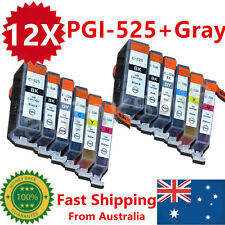 12X Ink Cartridges PGI525 CLI526 + Gray for Canon MG5250MG6100MG6150MG6250MG8150