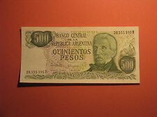 ARGENTINA UNC 500 PESOS BANKNOTE 1976 - 1983 PAPER MONEY CURRENCY BILL bank note