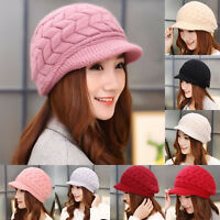 Women Ladies Winter Warm Chunky Cable Beanie Hats Brim Knitted Thick Visor Caps