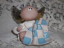 ANGEL CHEEKS FIGURINE BY KIRK'S KRITTERS RUSS BERRIE ANGEL WITH BABY BLANKET