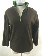 Arizona womens pullover fleece Size M 10/12 brown long sleeve green trim 1/4 zip
